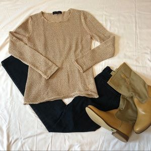 Jones New York Open Weave Sweater Rolled Bottom